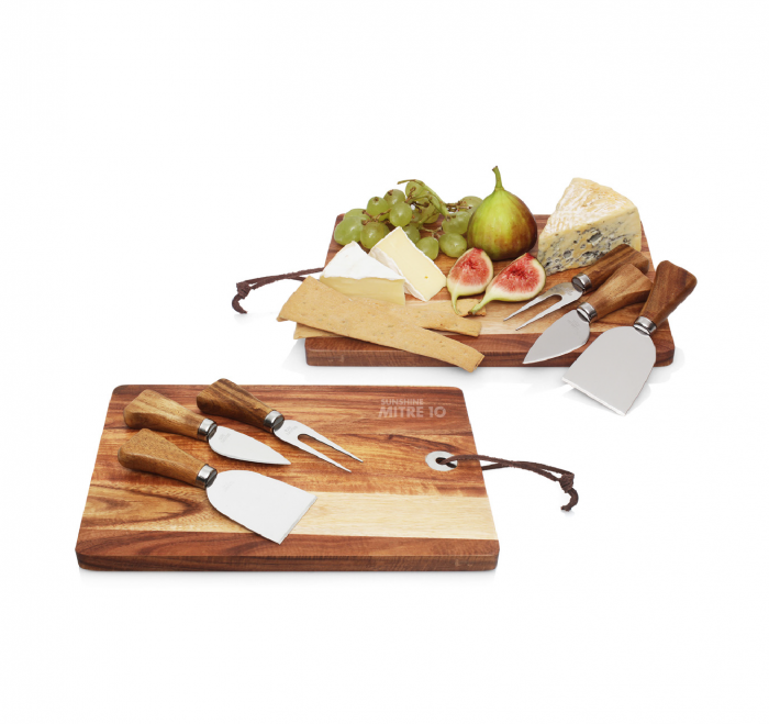 4pc Cheese Set with Acacia Wood Cheese Board